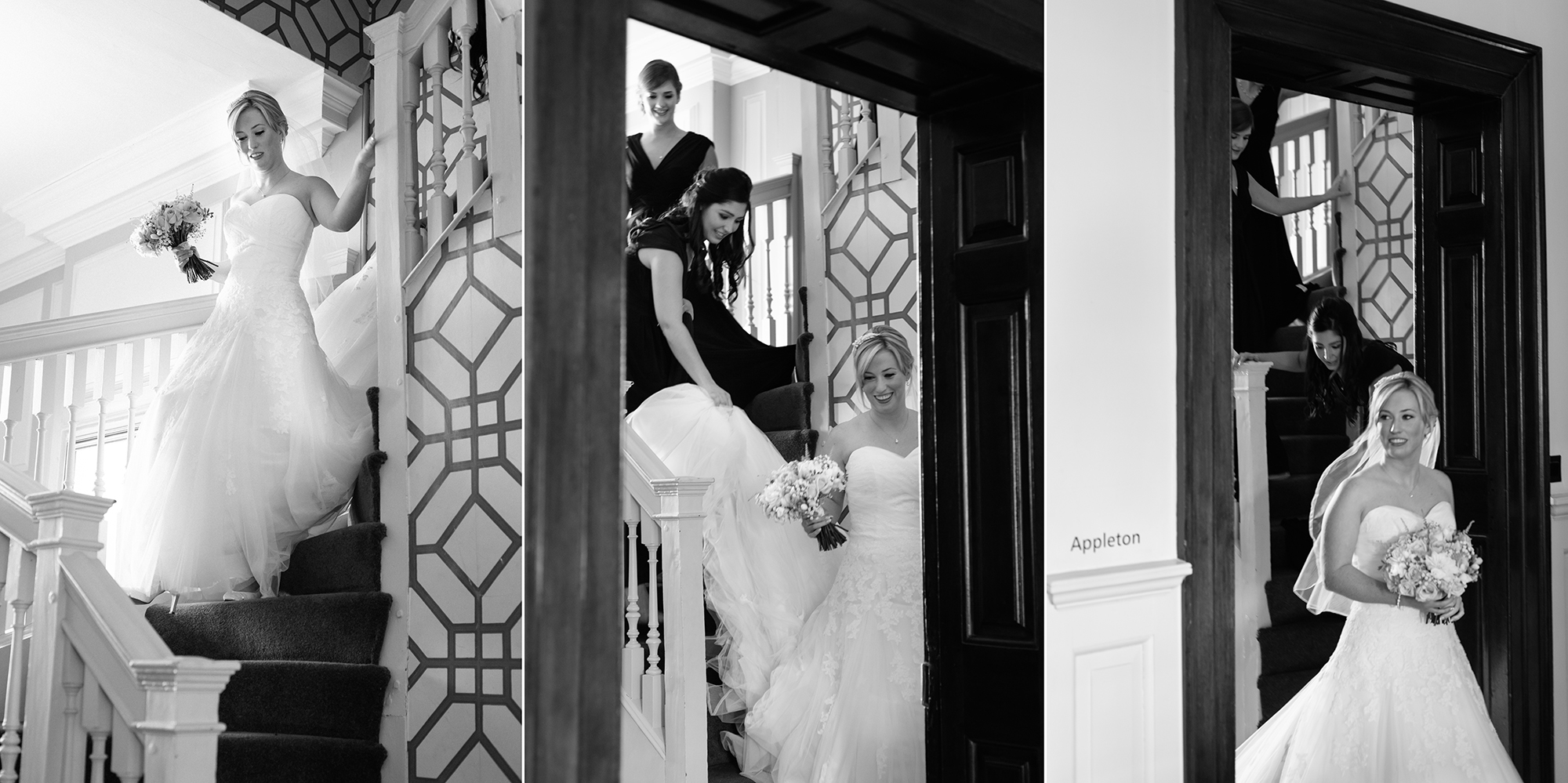 Bride coming down stairs Chicheley Hall