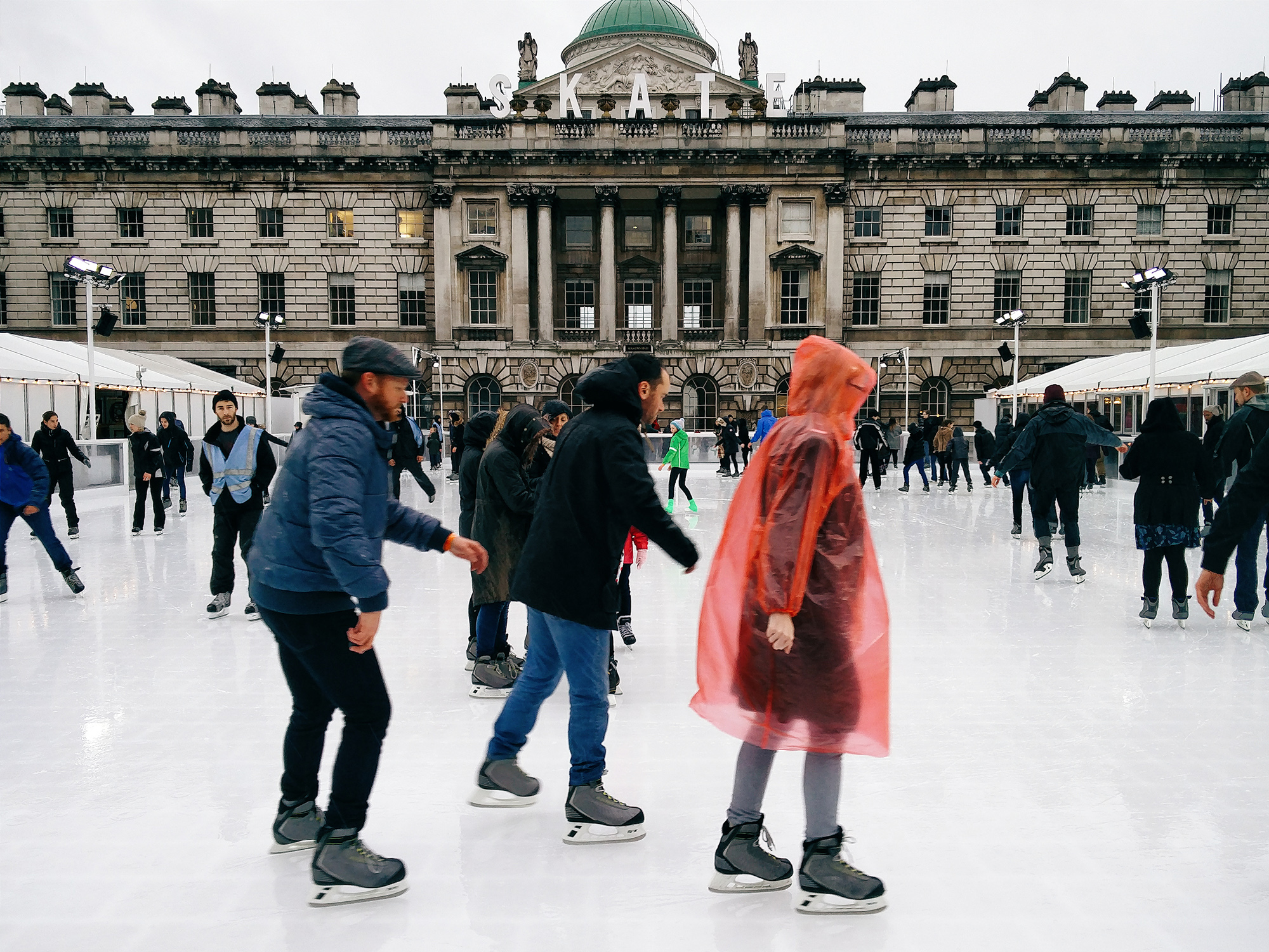 Ice Skating In The Rain At Somerset House
