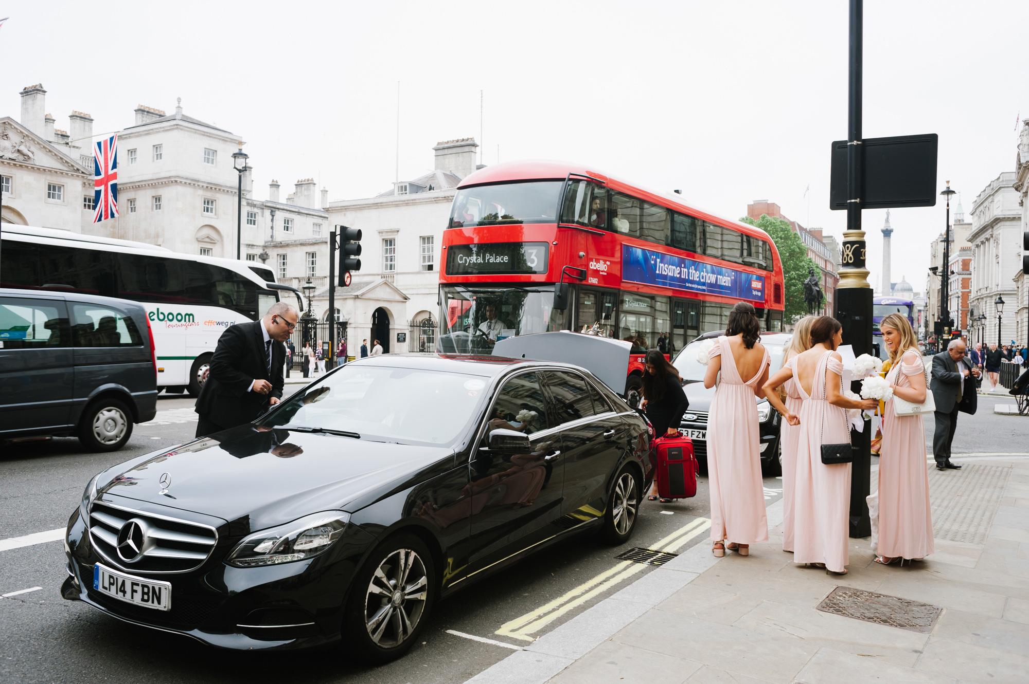 bride and bridesmaids arriving at banqueting house london