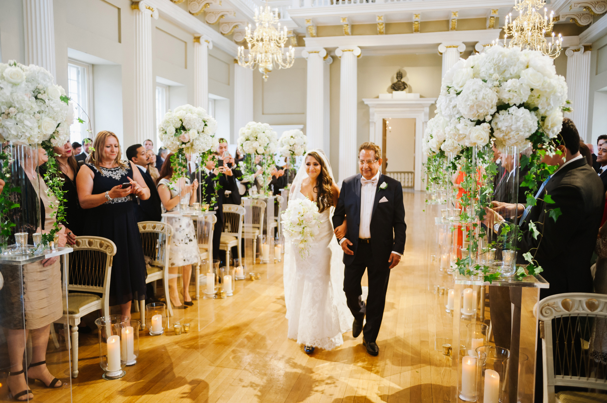 bride walking down aisle at banqueting house london wedding