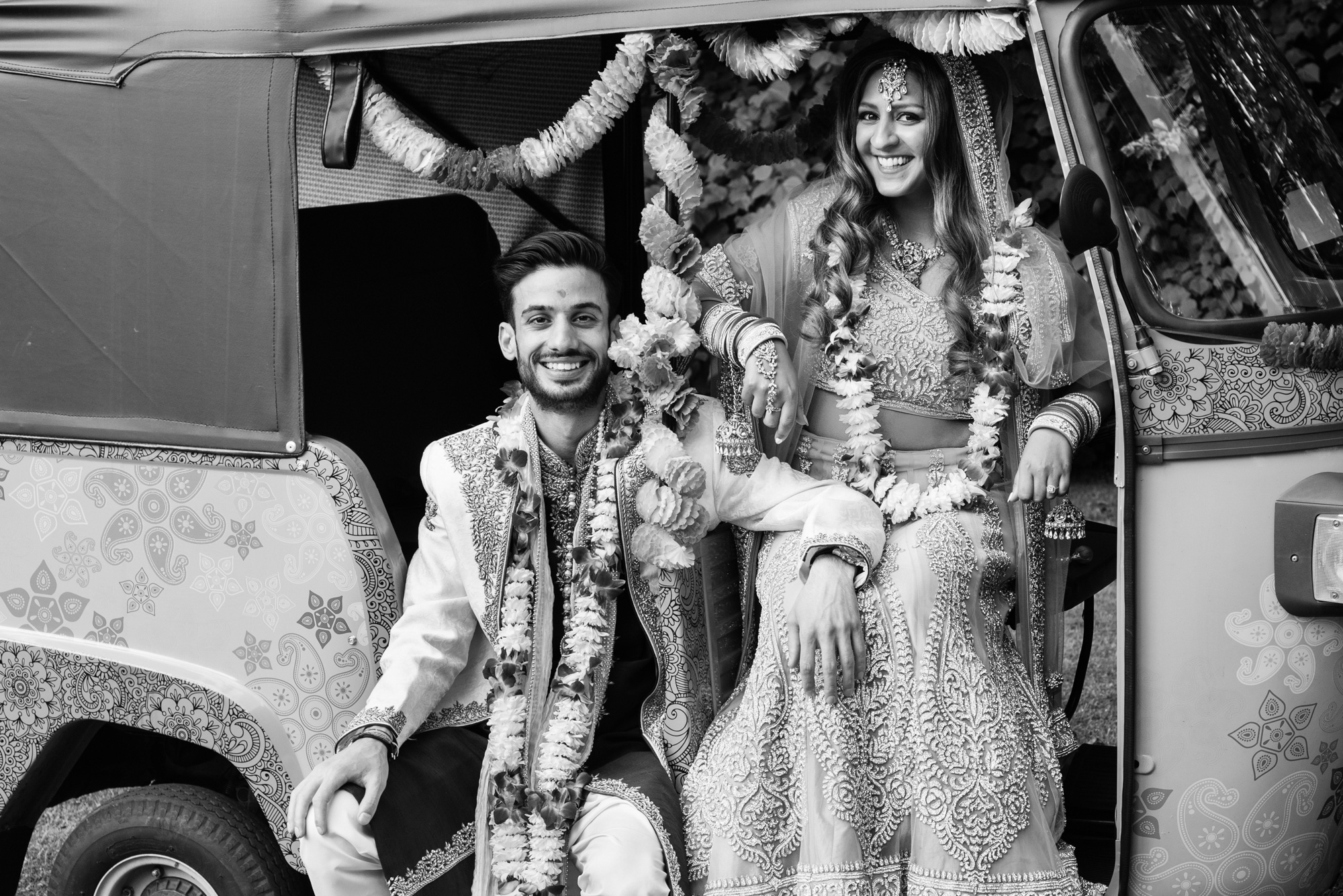 tuk tuk rickshaw bride groom indian wedding solihull