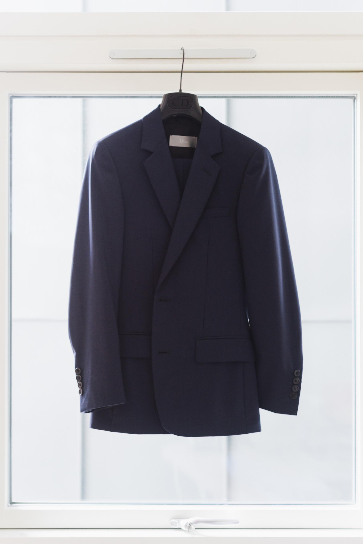 mens navy dior suit wedding