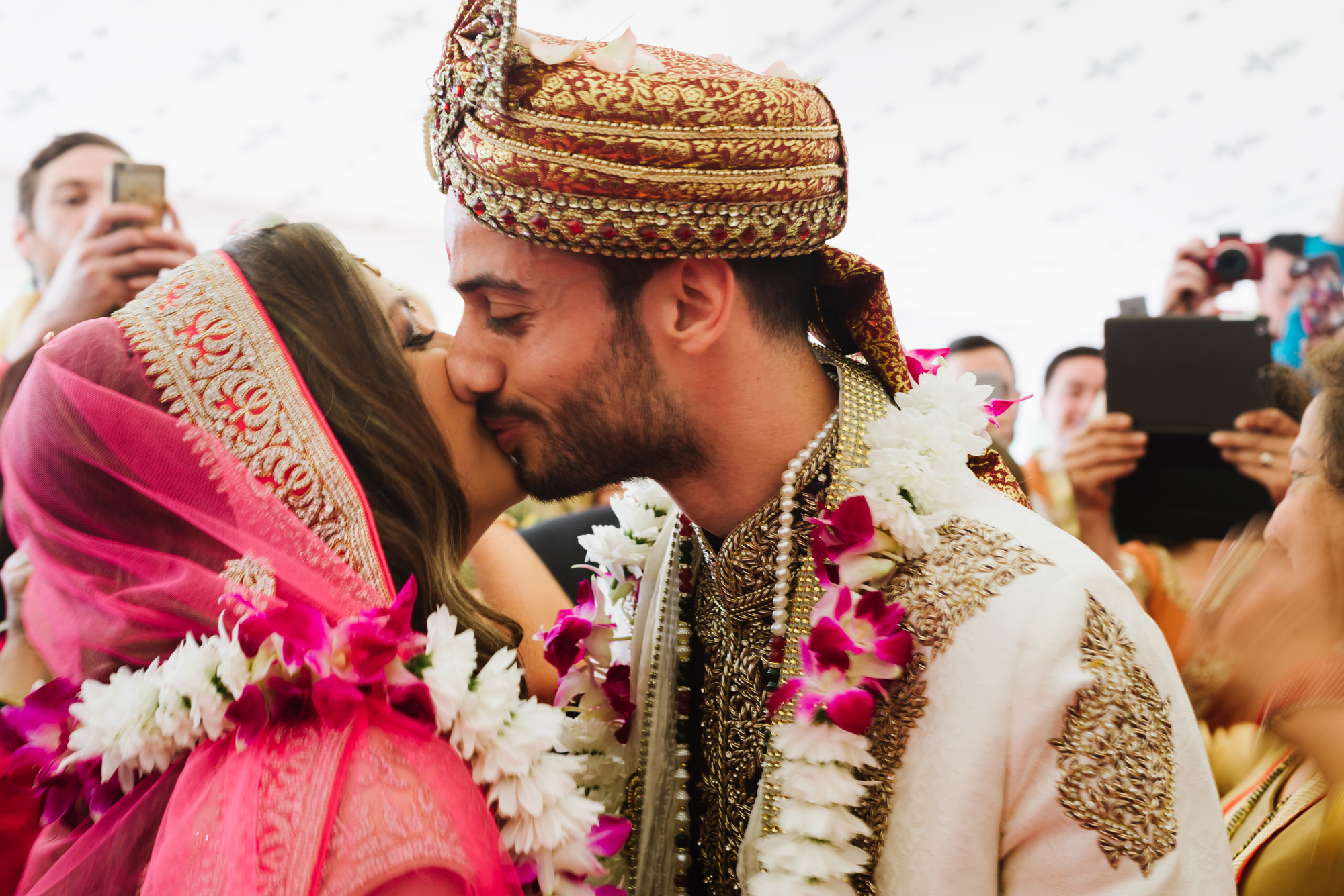 indian wedding kiss
