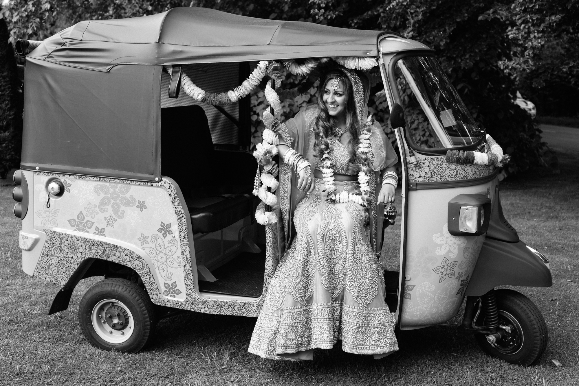 Tuk Rickshaw Bride Groom Indian Wedding Solihull