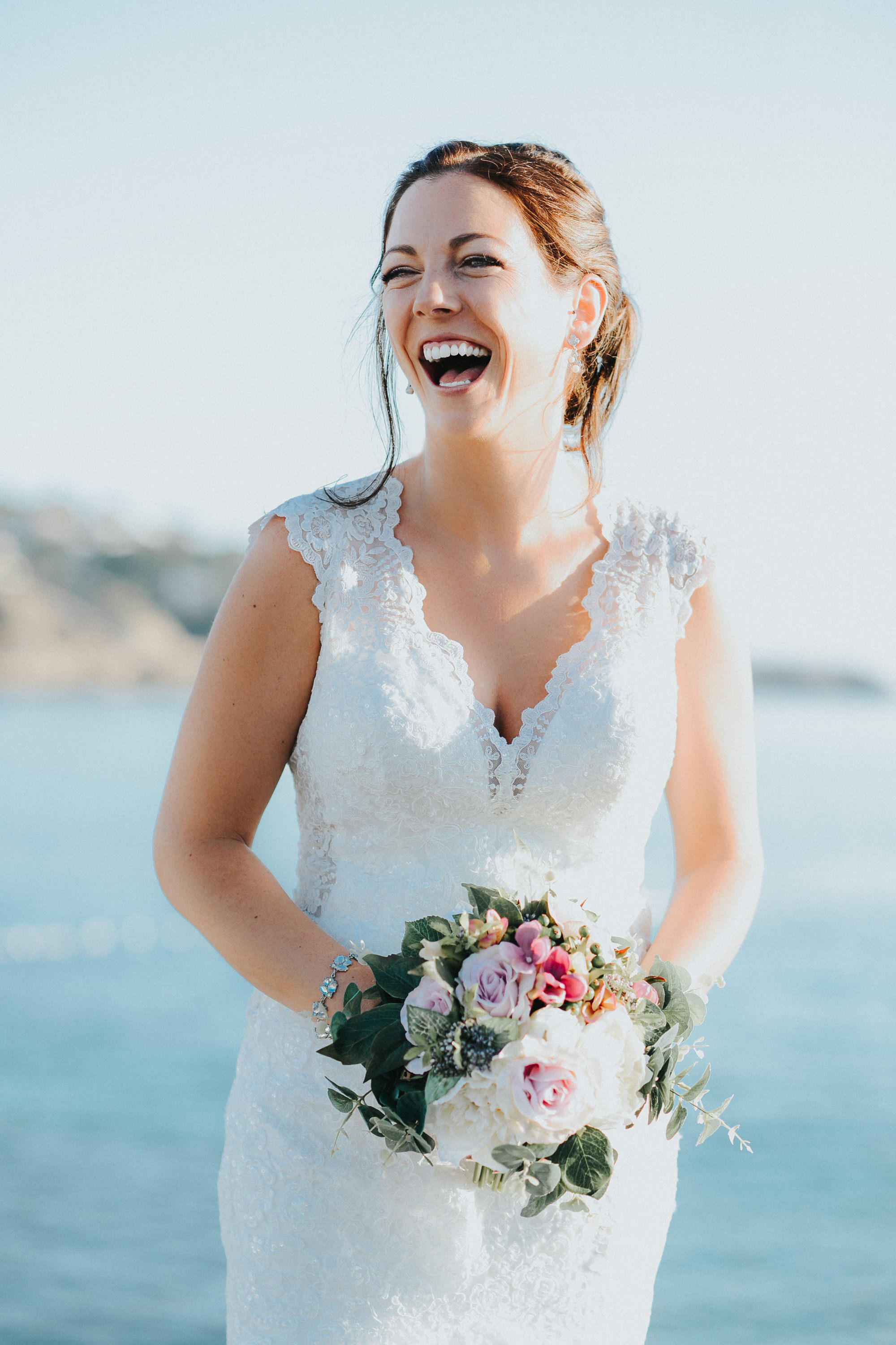 Bride Laughing Ibiza Wedding
