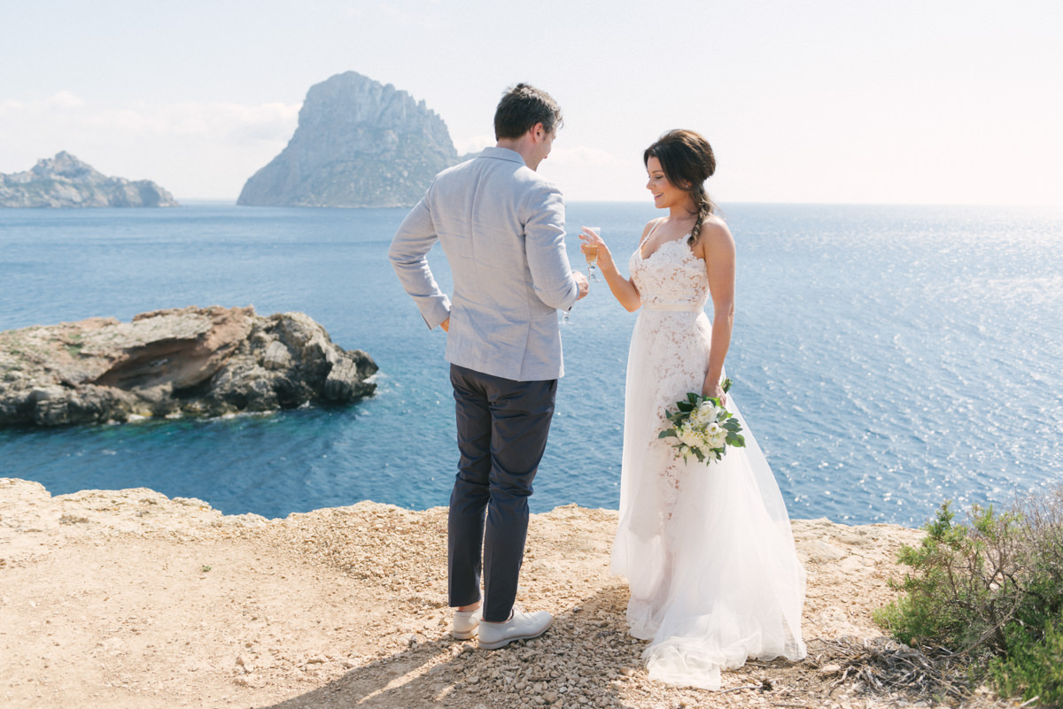 Ibiza Clifftop Wedding featuring a Catherine Deane Dress